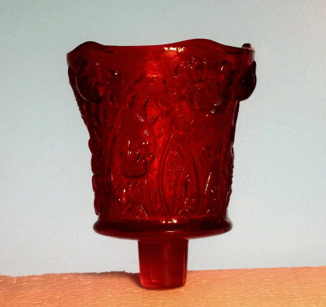 Home Interiors Peg Votive Cup Holder Glass Ruby Red Daisy