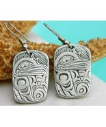 Pacific Northwest Haida Bird Raven Tribal Pewter Earrings - $24.95