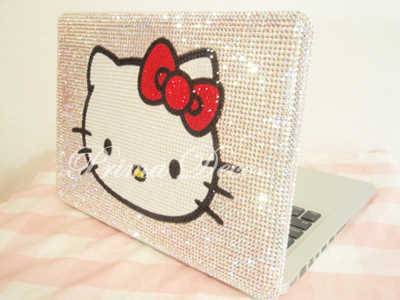 "swarovski crystal laptop case for MACBOOK PRO 15""Big Hello Kitty clear bling"