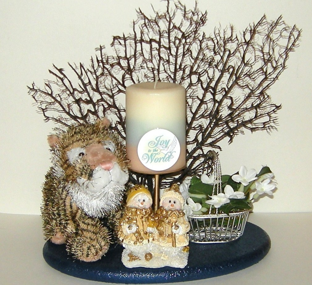 Christmas Joy Candle Snowmen Candle Holder Metal Basket Flowers Plush Tiger 33