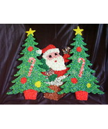 Melted Plastic Popcorn Decorations Santa Claus Christmas Trees Lot of 3    - $25.00