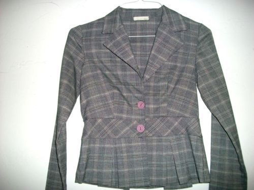 SIRENS BLACK GREY WHITE PLAID DRESS CAREER JACKET SMALL
