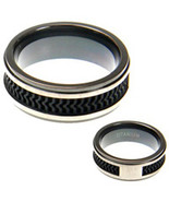 8mm Titanium with Textured Rubber Wedding Band ... - $52.88