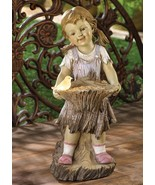 Solar Lamp Statue Girl with Basket Bird Seed Fe... - $22.00