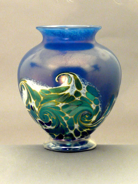 Orient & Flume Iridescent Art Glass Ocean Wave Vase