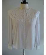 Kathy Che White Long Sleeve Blouse Size 10 New - $21.00