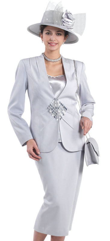 Silver 3pc Stunning Mother of Bride Groom Suit 8 26