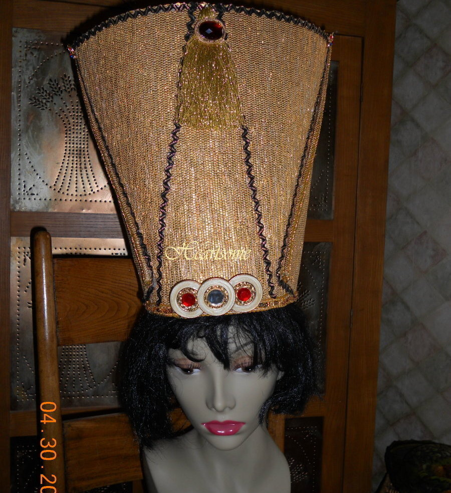 Egyptian nefertiti headpiece crown pharaoh king queen hat for Michaels arts and crafts queens