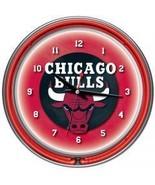 Chicago Bulls NBA Chrome Double Ring Neon Clock... - $87.56