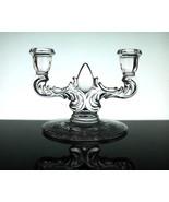 Crystal Candelabra 2 Arm Elegant with Etched Fl... - $14.99