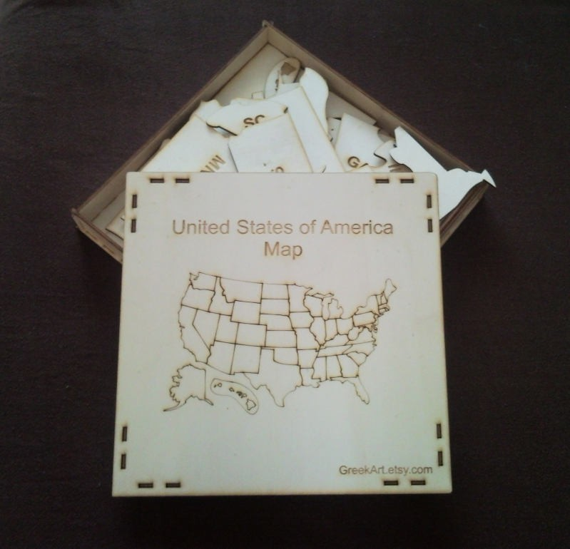 United States of America -USA MAP - Wood Puzzle with 3mm ply