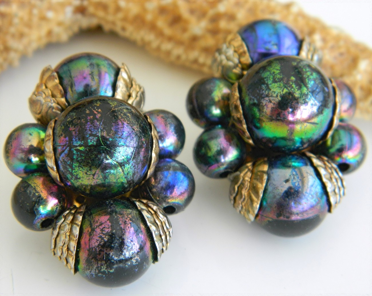 Vintage Faux Carnival Glass Bead Earrings Iridescent Peacock