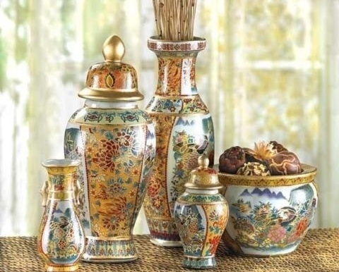 Asian Palace Vase Ensemble   6 Piece Set