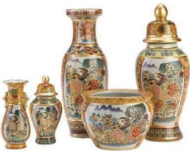 Image 1 of Asian Palace Vase Ensemble   6 Piece Set