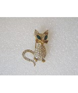 Cat Brooch Pin Rhinestone Signed Sphinx - $25.00