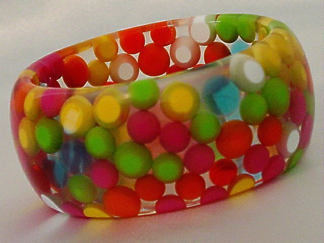 Red Blue Green Lava Lamp Ball Clear Lucite Wide Bracelet