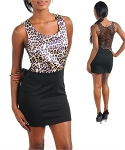 Purple Black Leopard Animal Mini Dress Marysol L