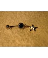 BELLY NAVEL RING BLUE SAPPHIRE STAR DANGLE #696C - $7.99