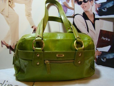 Perlina Shoulder Bag Satchel Green Leather Large
