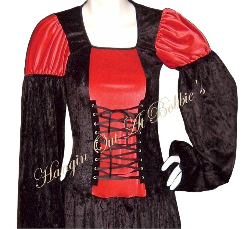 HALLOWEEN Renaissance Medieval Goth Lace Up Dress Gown Costume Long M/L