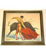 Matador Bull Bullfight Oil Painting vintage 60's signed Artist Framed - $129.00