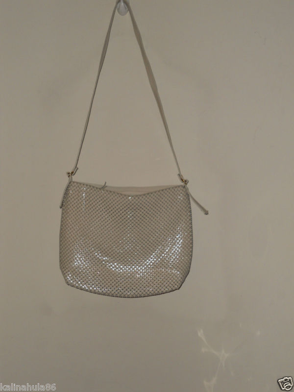 Whiting & Davis mint mesh and leather handbag