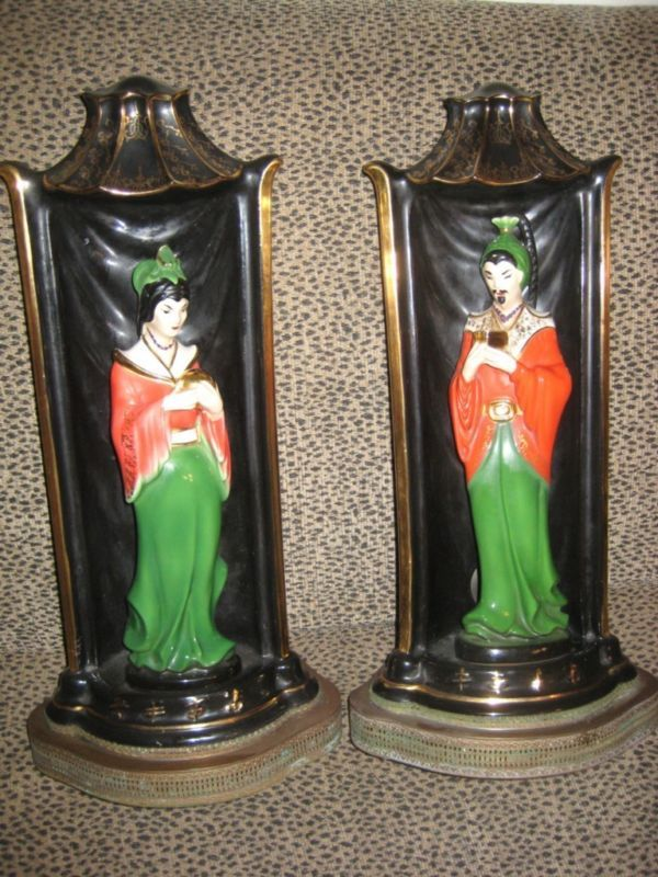 "PR ANTIQUE PORCELAIN 20"" JAPANESE STATUES LAMPS GREAT!!"