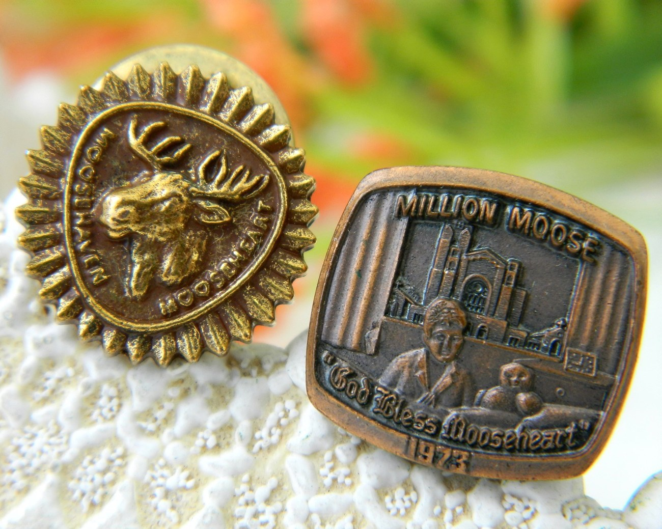 2_vintage_order_moose_lapel_pin_mooseheart_moosehaven_fraternal