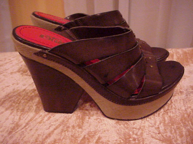 By Latinas Sexy Leather Brown Wedge Slip On Heels Size 8 Last Pair!