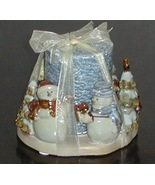 Large Ceramic Winter Snowman Santa Candle & Holder - $8.00