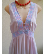Vintage Nightgown M L Formfit Rogers Long Violet Beauty Covered Buttons - $31.00