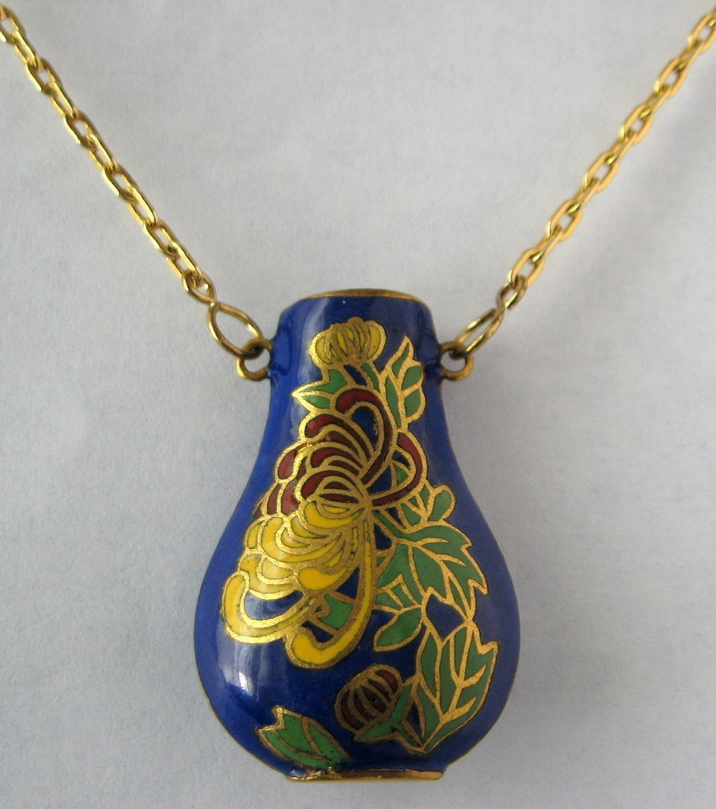 Necklace Blue Cloisonne Urn Pendant With Chain Floral