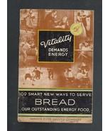 Vintage Cookbook,Vitality Demands Energy,1934 b... - $5.20