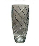 Fine Crystal Cut Spiral Swirl Flower Vase 10 inch - $19.99
