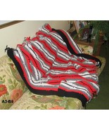 Hand Made Red Black White Gray Afghan  - $21.99