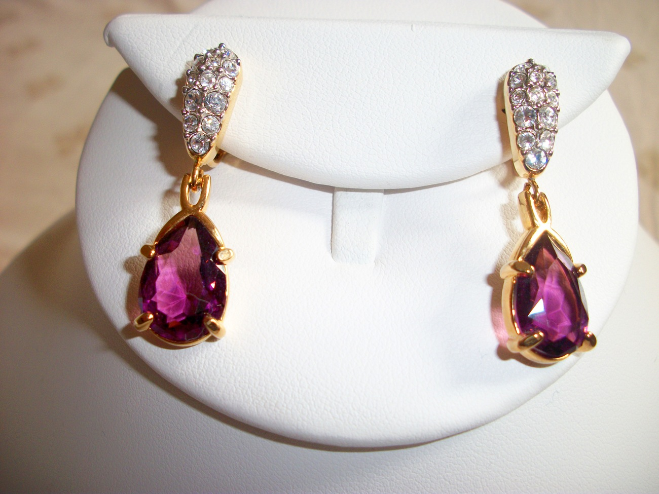 Swarovski Signed Pave Clear & Amethyst Purple Crystal Gold Plated Clip Earrings
