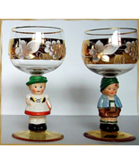 Hummel Crystal Wine Glass Set by Goebel Germany Vintage Girl and Boy Handpainted - $69.95