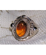 Amber and Sterling Silver Crown Ring size 8 - $30.00