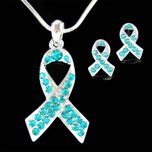 Swarovski Crystal Ovarian Cancer Ribbon Necklace Earrings