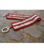 Silver & Red Hand-Woven Bead Bracelet -- Peyote... - $32.00