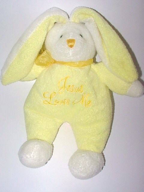 Dan Dee DanDee Yellow Bunny Plush Jesus Loves Me Musical Toy