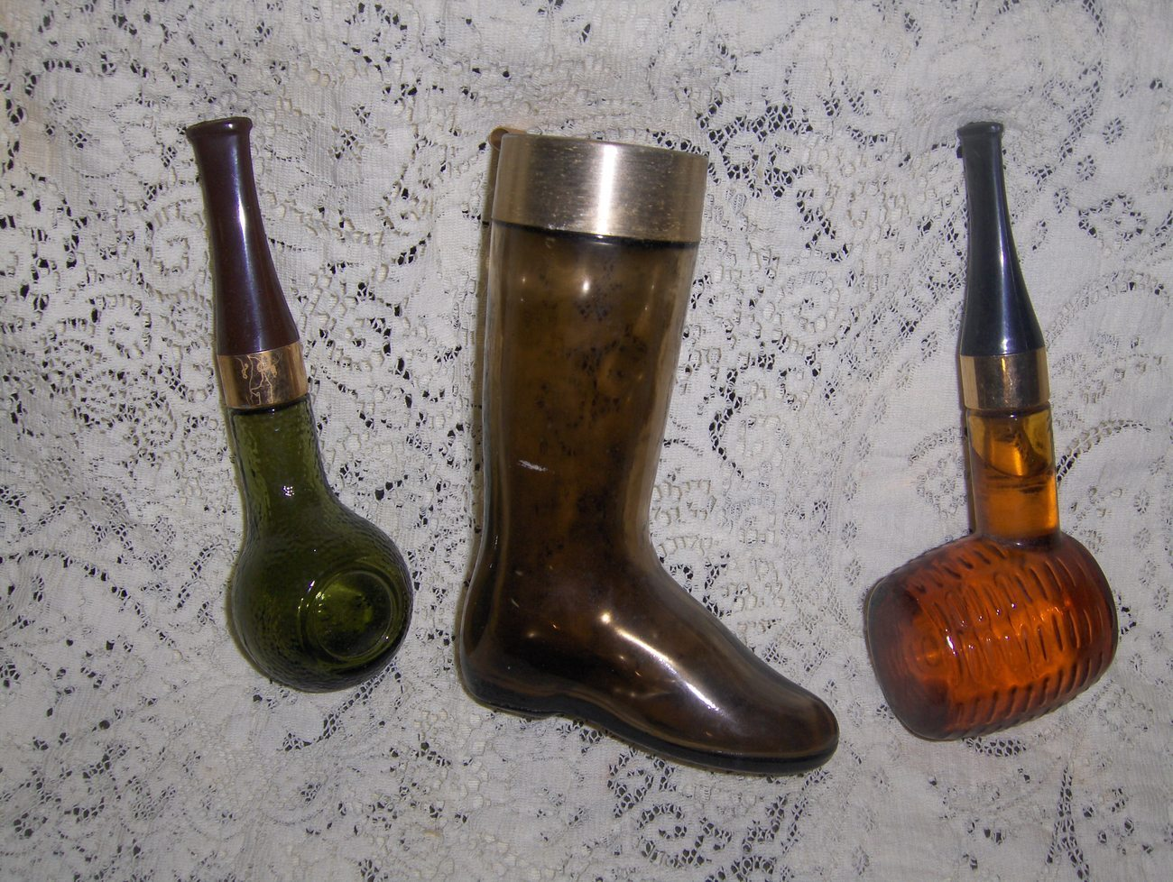 Vintage Avon u0026quot;Corncob Pipeu0026quot; and Boot Collectible Bottles - Decanters