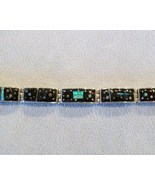 Onyx/Opal Inlay Link Bracelet, Sterling Silver,... - $600.00