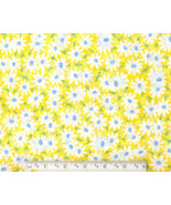 Daisy Fabric, cotton yellow floral quilting qui... - $9.92