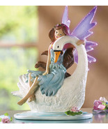 Fiber Optic Fairy Perched On Swan Tablet  - $12.95