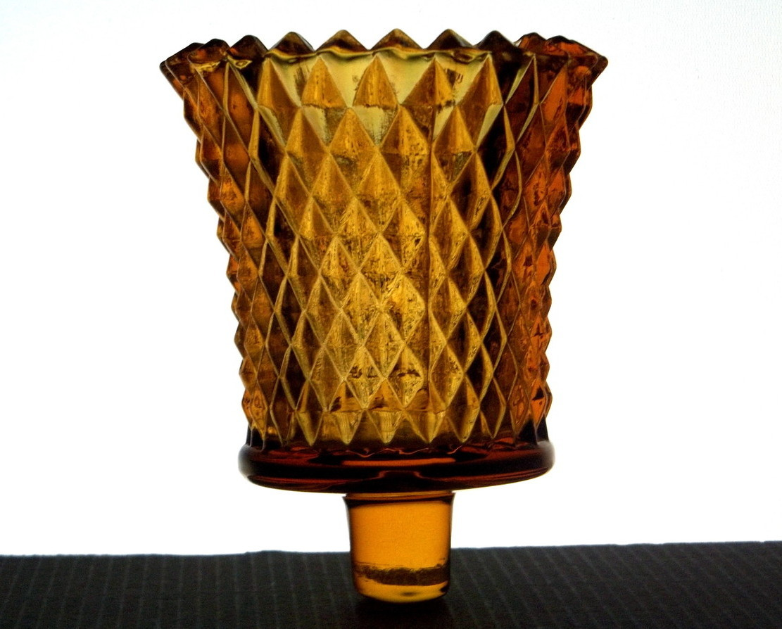 Home Interiors Diamondlite Cut Votive Cup Holder Glass Amber