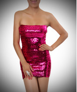 Fuchsia Sequin Dress-One size fits most - $35.99