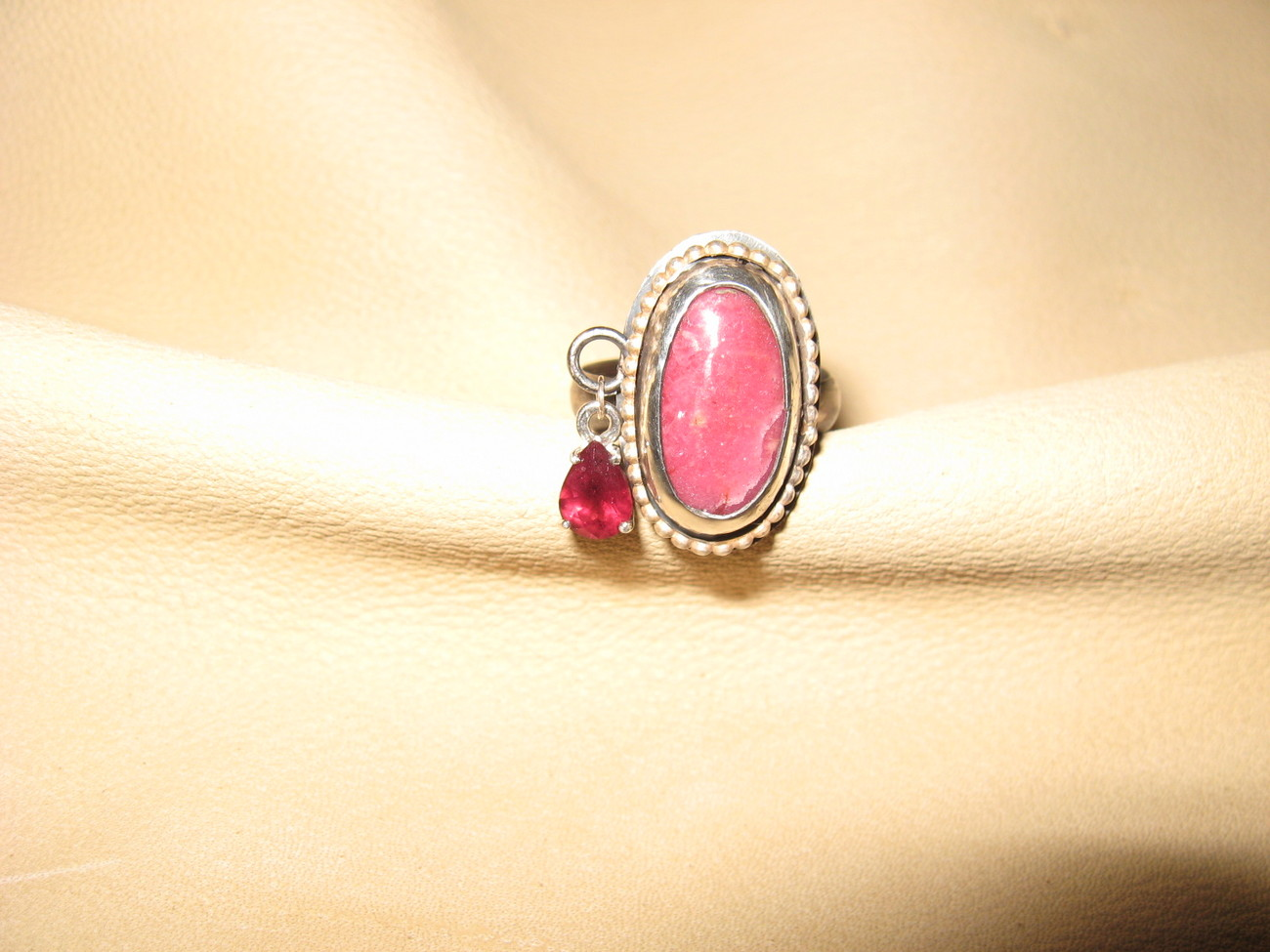 Rhodonite/Garnet Sterling Silver Ring