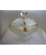 Gold Trimmed Pressed Glass Candy Dish - $27.00
