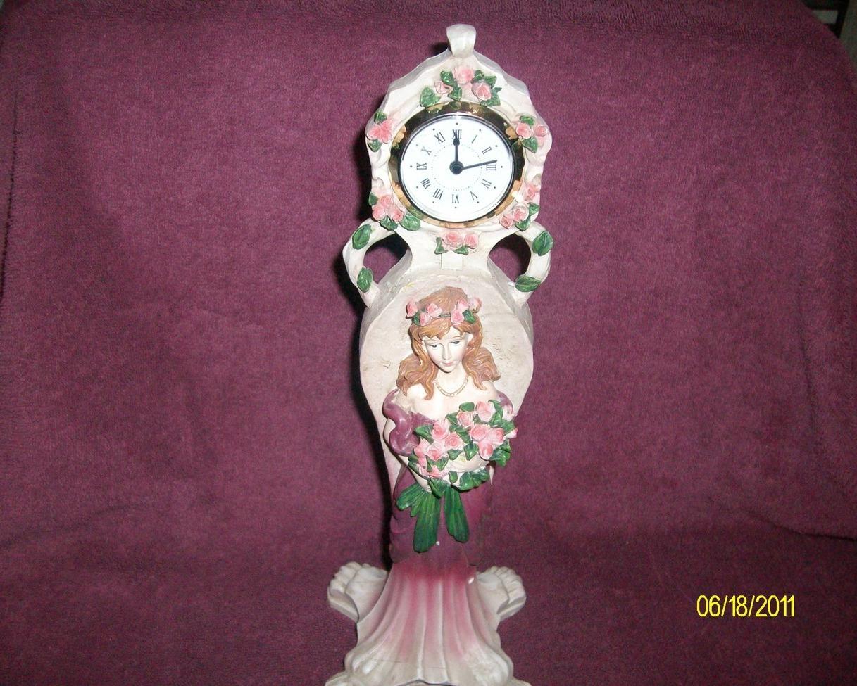 Rose Figurine Desktop Clock